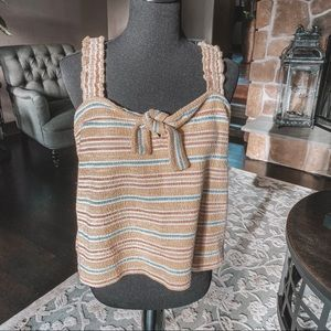 Madewell Yellow Blue Striped Knit Tank Top